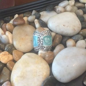 Turquoise and Silver Tone Ring